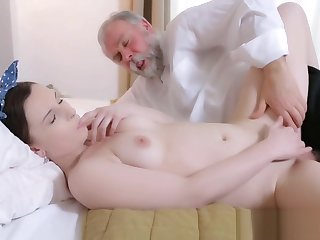 Pretty young gal fucked by old guy